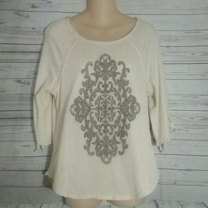 WIT & WISDOM Creme Embellished Top Size Small